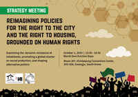 Strategy meeting: Reinventing policies for the right to the city and the right to housing, grounded on human rights - Gwangju, South Korea, 1 October 2019